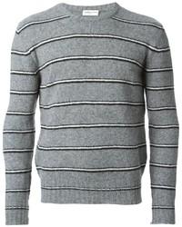 Maglione girocollo a righe orizzontali grigio