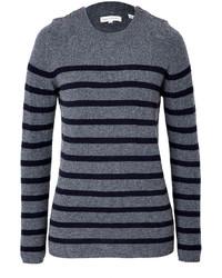 Maglione girocollo a righe orizzontali grigio scuro