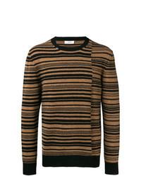 Maglione girocollo a righe orizzontali marrone