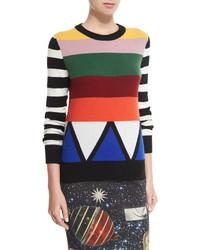 Maglione girocollo a righe orizzontali multicolore