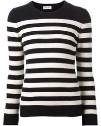 Maglione girocollo a righe orizzontali nero e bianco