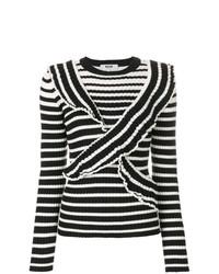 Maglione girocollo a righe orizzontali nero e bianco di MSGM