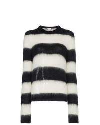 Maglione girocollo a righe orizzontali nero e bianco di Saint Laurent