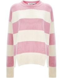 Maglione girocollo a righe orizzontali rosa