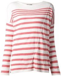 Maglione girocollo a righe orizzontali rosso e bianco di Rag and Bone