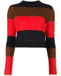 Maglione girocollo a righe orizzontali rosso e nero di Rag and Bone