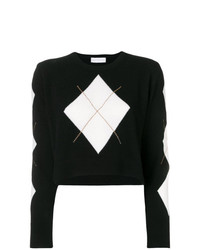 Maglione girocollo a rombi nero e bianco di Giada Benincasa