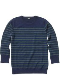 Maglione girocollo blu scuro e verde