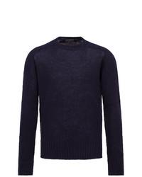 Maglione girocollo blu scuro di Prada