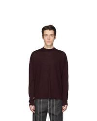 Maglione girocollo bordeaux di Jil Sander