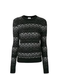 Maglione girocollo con motivo a zigzag nero e bianco di Saint Laurent