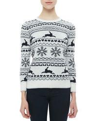 Maglione girocollo con motivo fair isle bianco e nero