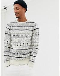 Maglione girocollo con motivo fair isle bianco di Threadbare