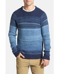 Maglione girocollo con motivo fair isle blu