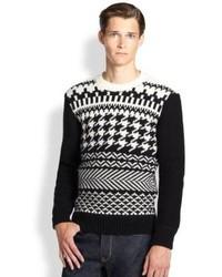 Maglione girocollo con motivo fair isle nero e bianco