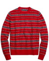 Maglione girocollo con motivo fair isle rosso