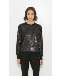 Maglione girocollo con paillettes nero
