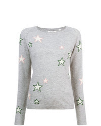 Maglione girocollo con stelle grigio