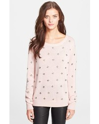 Maglione girocollo decorato rosa