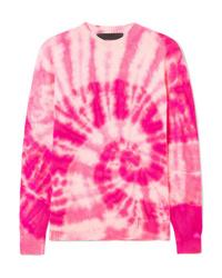 Maglione girocollo effetto tie-dye fucsia