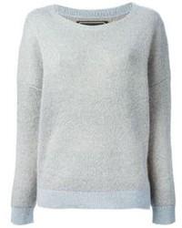 Maglione girocollo in mohair grigio