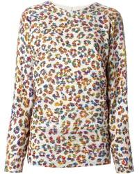Maglione girocollo leopardato beige