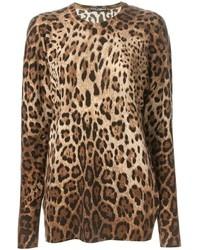 Maglione girocollo leopardato marrone