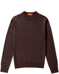 Maglione girocollo marrone scuro