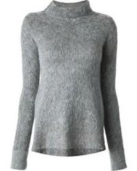 Maglione girocollo morbido grigio