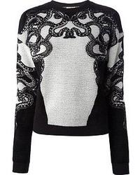 Maglione girocollo ricamato nero e bianco