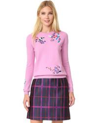 Maglione girocollo ricamato rosa