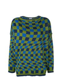 Maglione girocollo scozzese blu scuro e verde di Molly Goddard