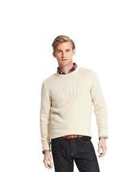 Maglione girocollo stampato beige