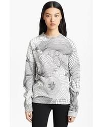 Maglione girocollo stampato bianco e nero