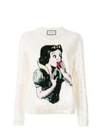Maglione girocollo stampato bianco di Gucci