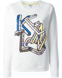 Maglione girocollo stampato bianco di Kenzo