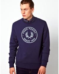 Maglione girocollo stampato blu scuro e bianco