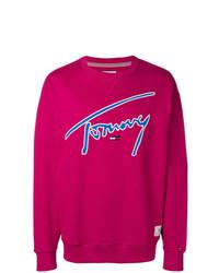 Maglione girocollo stampato fucsia di Tommy Jeans