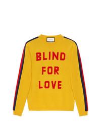 Maglione girocollo stampato giallo di Gucci