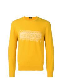 Maglione girocollo stampato giallo di Z Zegna