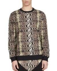 Maglione girocollo stampato marrone chiaro