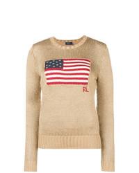 Maglione girocollo stampato marrone chiaro di Polo Ralph Lauren