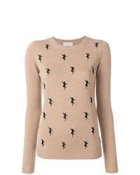 Maglione girocollo stampato marrone chiaro di Sonia Rykiel