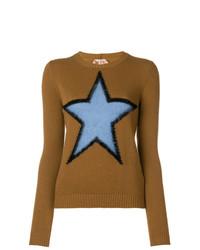 Maglione girocollo stampato marrone di N°21