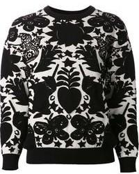 Maglione girocollo stampato nero e bianco