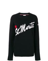 Maglione girocollo stampato nero e bianco di Moncler