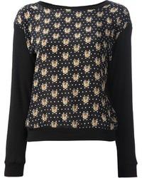 Maglione girocollo stampato nero
