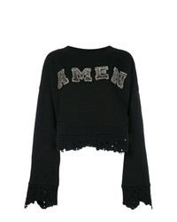 Maglione girocollo stampato nero di Amen