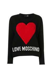 Maglione girocollo stampato nero di Love Moschino