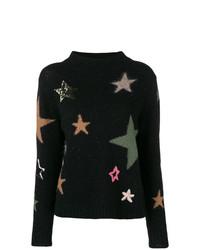 Maglione girocollo stampato nero di Luisa Cerano